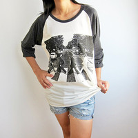 The Beatles UK Pop Rock Classic Baseball Raglan T-Shirt Long Sleeve Tshirt Size S M L
