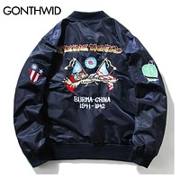 Embroidery Pilot Bomber Jackets Men Autumn Tiger Embroidered Thin Bomber Jacket Coats Army Green Blue Black