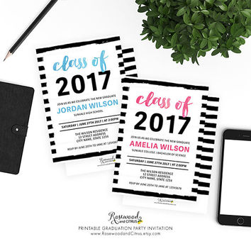 Class of 2017 Graduation Party Invitation, Printable Graduation Invitation, Chic Black and White Graduation Party, Modern Graduation Invite