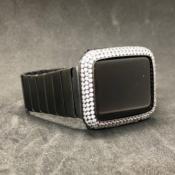 Apple Watch Band Mens 42mm 44mm Premium Butterfly Buckle Link Black Stainless Series 1 2 3 4/Bezel Case Cover Lab Diamonds Rhinestones S123