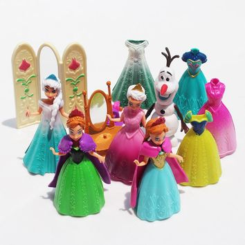 Frozen 11Pcs/Lot Princess Anna Elsa Olaf Figures Doll Toys Model Action Figure Set With Magic Clip Dress For Children
