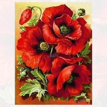 Diy round full Diamond Painting cross stitch Russia Flowers red rose diamond mosaic embroidery canvas home decor painting