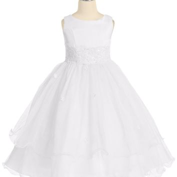 (Sale) Girls Size 12 White Lace Trim Formal Dress w. Tiered Lettuce Trim Tulle Skirt