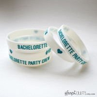 Bachelorette party bracelet, teal party favor, bachelorette party favor, glow in the dark wristband, party bracelet, bottle band