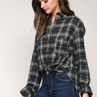 Tie Back Plaid Top in Navy