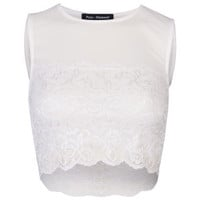 Women's Lace Sleeveless Crop - White