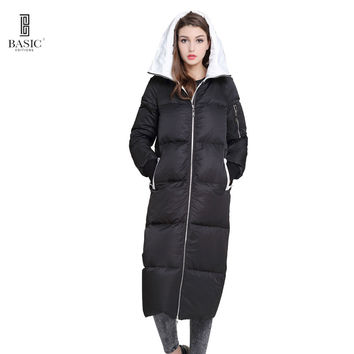 Basic Vogue Women Winter Extra Long Casual Puff Down Parka Jacket - Y16065