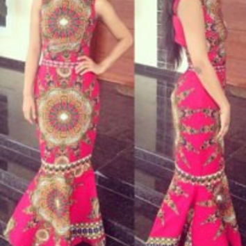 Ethnic Style Colorful Printed Jewel Neck Sleeveless Maxi Fishtail Dress For Women