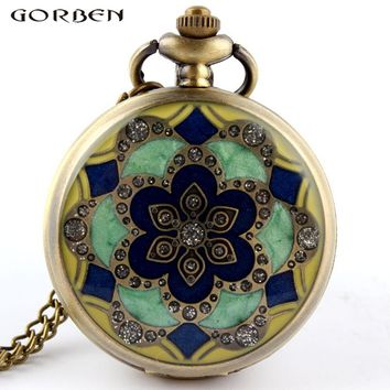 Green Jade Crystal Quartz Big Pocket Watch Necklace Pendant and Chain