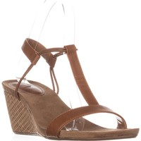 SC35 Mulan T-Strap Wedge Sandals, Coffee, 6 US