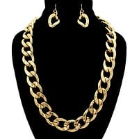 Gold Metal Chain Necklace Sets