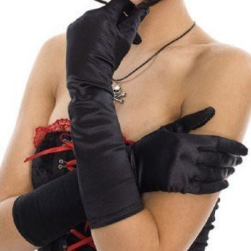 Black Satin Elbow Gothic Opera Gloves