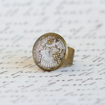 Vintage Style Map Ring, Gift For Traveler, World Map, Map Jewelry, Gift For Woman, Explorer, Adventurer, Mothers Day Gift