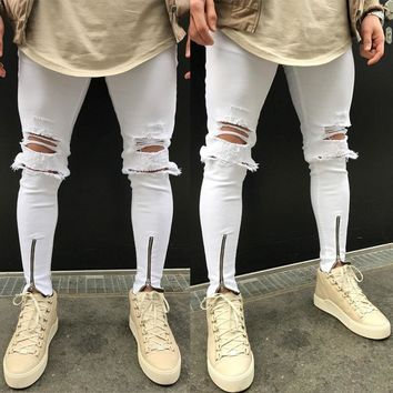 Men's Distressed Ripped Destroyed Wash Denim Zipper Ankle Length Slim Skinny Jeans Big Hole White Pants