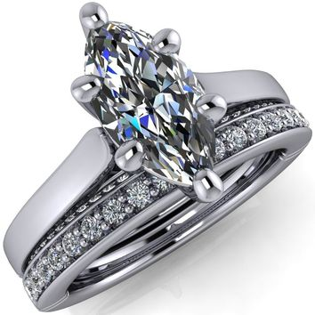 Colette Marquise Moissanite 6 Prong Half Eternity Cathedral Ring