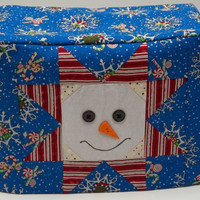 Patchwork Snowman Toaster Cover, Two Slice Toaster Cover, Blue toaster Cover with Snowflakes