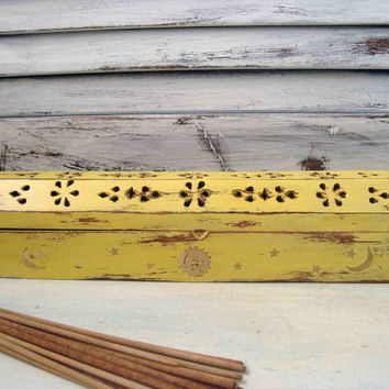 Yellow Painted Incense Burner, Box, Coffin with Decorative Sun Moon and Stars, Shabby Chic Distressed Incense Holder, Incense Cone Holder