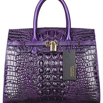 Pijushi Embossed Crocodile Purse Genuine Leather Tote Padlock Handbags Satchel Office Bag 22130