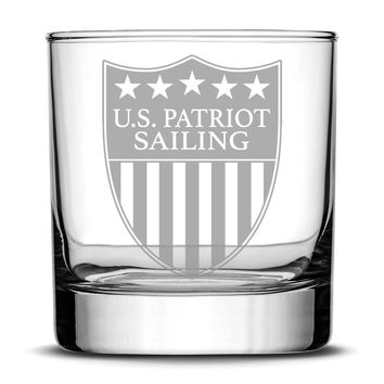 Premium US Patriot Sailing Whiskey Glass, 10oz Deep Etched Rocks Glass, Made in USA