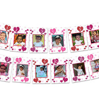 Valentine 1st Birthday Banner - Glitter Heart 1st Birthday Photo Banner - Girl 1st Birthday Banner - Milestone Photos Pink Purple Sweetheart
