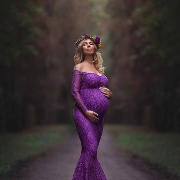 New Maternity Photography Props mermaid Maternity Dresses Plus Size Lace Pregnant Women Long Maxi off shoulder long sleeve Gown