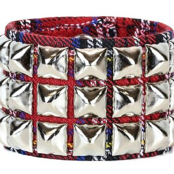 3 Row Silver Pyramid Stud Red Plaid Wristband Cuff Bracelet