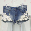 Women's Fashion Summer Slim Fit Crochet Lace Flower Hole Denim Shorts Jeans