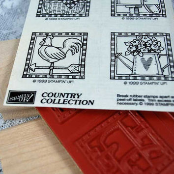 """Stampin Up Rubber Stamps - Rare and HARD TO Find -  Mint and Unmounted - """"Country Collection"""" - Scrapping, Stamping, Cardmaking, Crafts"""