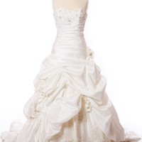 Taffeta Wedding Dress with Pick-Up Skirt, Beaded Lace, and Embelished Flowers (White, Size 8)