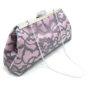 Light Pink and Steel Grey Wedding Clutch