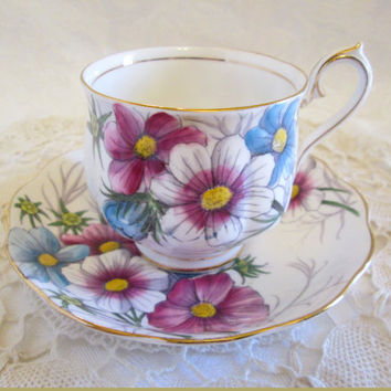 "Royal Albert  ""Cosmos""  Flower of the Month Tea Cup and Saucer #10 October, Royal Albert Violet Blue Floral Bone China - England"