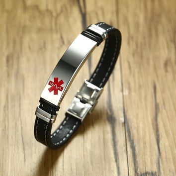 DIABETES EPILEPSY ALLERGY COPD ALLERGY WARFARIN  ASTHMA PACEMAKER HYPOGLYCEMIA Black Leather Medical ID Bracelet