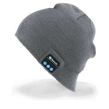 Momoday Bluetooth Music Soft Warm Beanie Hat Cap with Stereo Headphone Headset Speaker Wireless Mic Hands-free for Men Women Speaker Winter Outdoor Sport Best Gift (Light Grey)