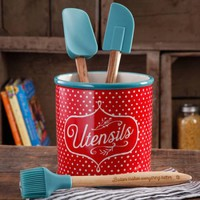 The Pioneer Woman Flea Market 4-Piece Utensil Set with Crock Holder - Walmart.com
