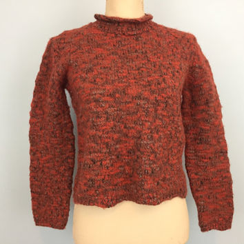 Chunky Sweater Thick Wool Fuzzy Sweater Mock Turtleneck Rust Orange Size Medium Fall Sweater Crop Sweater FREE SHIPPING Womens Clothing