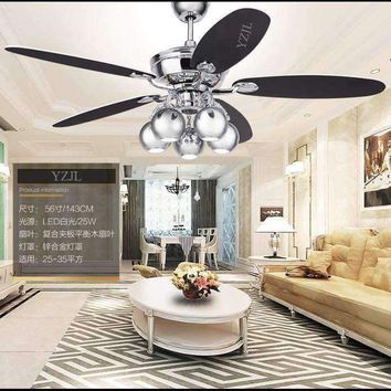 Retro ceiling chandelier fan lights Fan restaurant continental fashion household fan LED ceiling chandelier with remote control