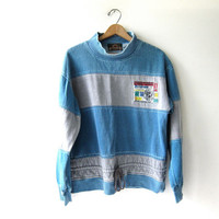 Vintage 80s pullover sweatshirt. Color block striped sweater. Drawstring grunge pullover.