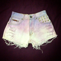 Fairytale Violet Purple Blue White Painted Dip Tie Dyed Ombre Bleach Woman Dye Denim Studded High Waist Levi Shorts