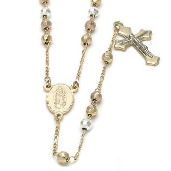 Gold Plated 09.59.0021.2.26 Medium Rosary, Guadalupe and Crucifix Design, Diamond Cutting Finish, Tri Tone