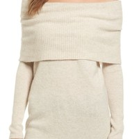 Halogen® Cashmere Off the Shoulder Sweater (Regular & Petite) | Nordstrom