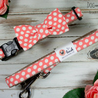 Coral Polka Dots Dog Collar With Removable Bow Tie