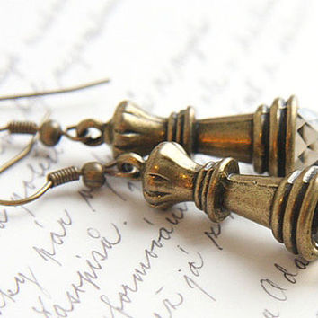 Chess Queen Earrings. Smoky Quartz Crystal. Antique Bronze. Chess Piece. TAGT TEAM