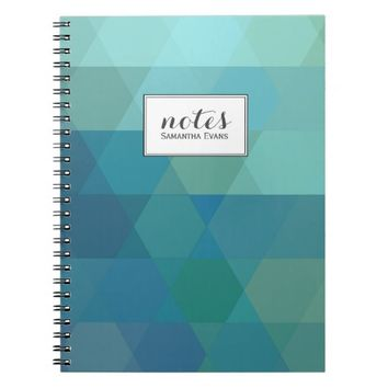 Geometric Teal Blue Mint Personalized Triangles Spiral Note Book