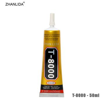 ZHANLIDA T-8000 50ml Epoxy Resin Transparent Glue Glass Lampshade Ceramics Fabric Beauty Rhinestones Needle Type Glue Gun