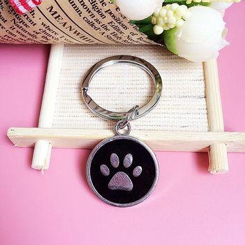1 pc Imitation hodium Plated Circular Cat Paw/Bone Keychain 12 Designs