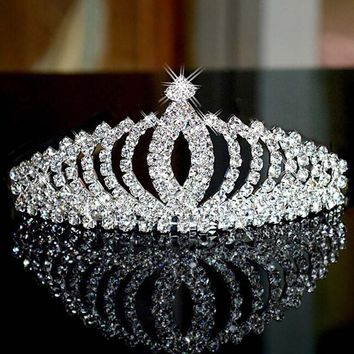 Stylish Children Kids Headwear Bling Shiny Rhinestone Princess Girls Crown Tiaras Hair Decorations CC9459