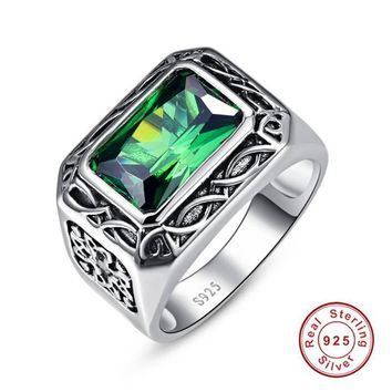 Fine 6.8Ct Nano Russian Emerald Ring For Men Solid Sterling Sliver