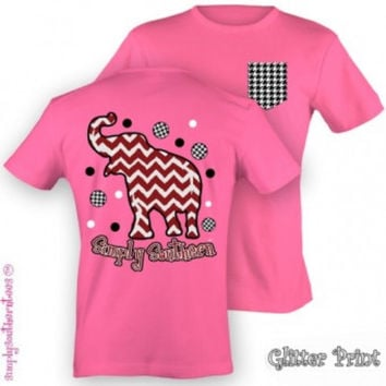 Simply Southern Funny Chevron Elephant Alambama Roll Tide Pocket Girlie Bright T Shirt