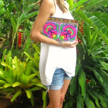 Embroidered Floral Clutch Bag Wristlet Handbag Hippie Boho Festival Ibiza Summer | eBay