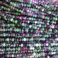 natural ruby zoisite rondelle beads - green and red zoisite gemstone - precious gemstone spacer beads - 2x4mm sepator beads - 15 inch